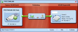 Software von AVM, Fenster bei bestehender Verbindung